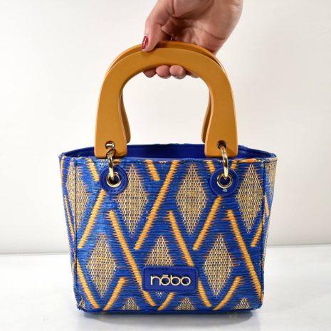 Malá dámska modrá kabelka s drevenými ušami