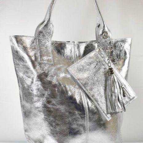 Shopper veľká dámska kožená kabelka ITALY strieborná