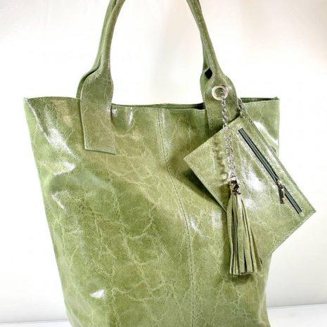 Športovo elegantná shopper zelená kabelka kožená