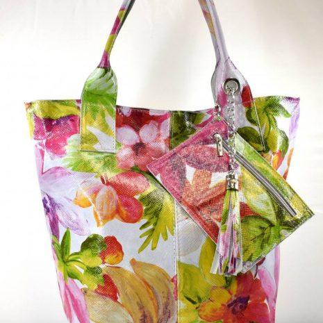 Shopper dámska kožená farebná kabelka ITALY
