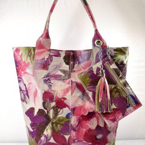 Dámska shopper kvetinová kožená kabelka