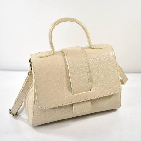 Elegantná dámska kožená krémová kabelka