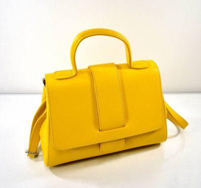 Štýlová dámska kabelka z talianskej dielne v krásnej sýtej žltej farbe s prídavným ramienkom