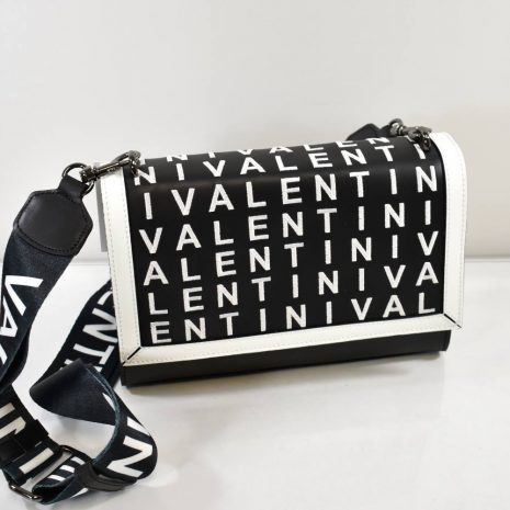 Kožená dámska čierno biela kabelka VALENTINI