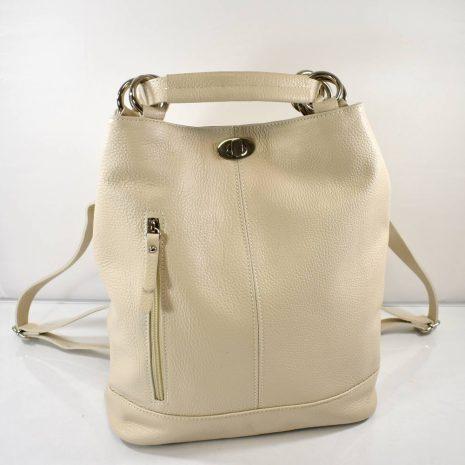 Kožená dámska krémová kabelka a ruksak