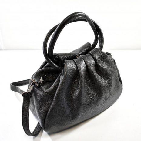 Malá dámska kožená čierna kabelka do ruky