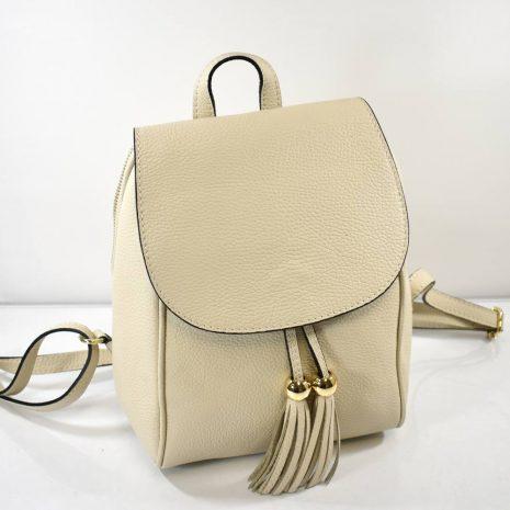 Elegantný kožený krémový dámsky ruksak