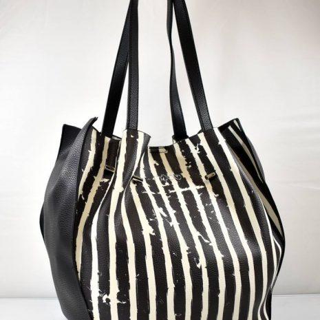 Dámska športovo elegantná čierno biela kabelka