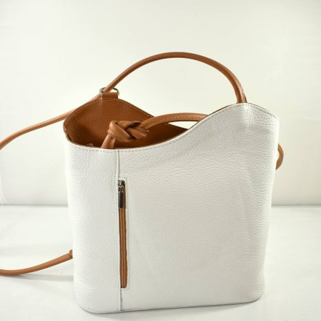 Kožený dámsky biely ruksak a kabelka 2v1