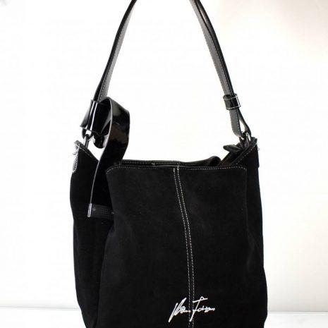 Dámska kožená vaková čierna kabelka