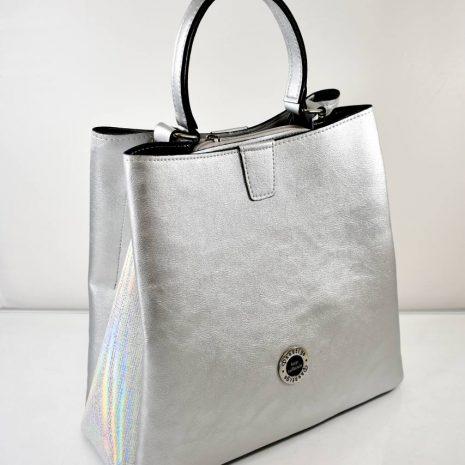Elegantná dámska strieborná kabelka do ruky
