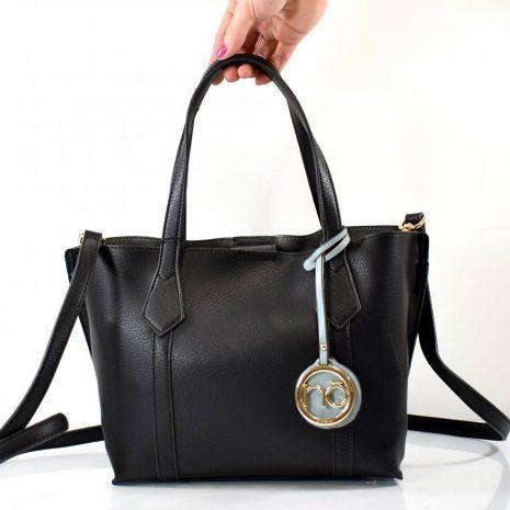 Elegantná čierna dámska kabelka s dvomi ušami