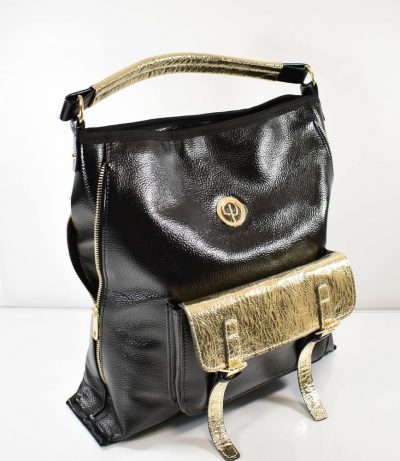 Športovo elegantná dámska shopper kabelka v čierno zlatej farebnej kombinácii