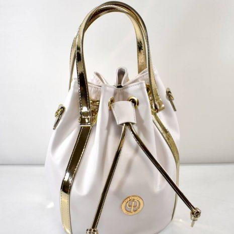 Extravagantná vaková dámska biela kabelka
