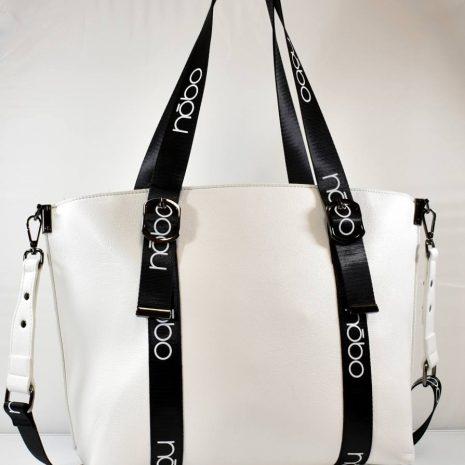 Praktická veľká dámska bielo čierna kabelka