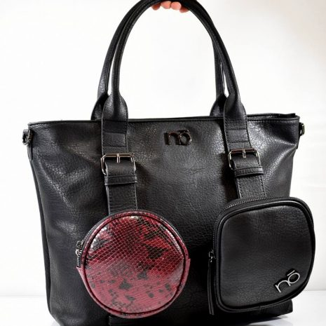 Veľká dámska čierna kabelka s kapsami NOBO N090