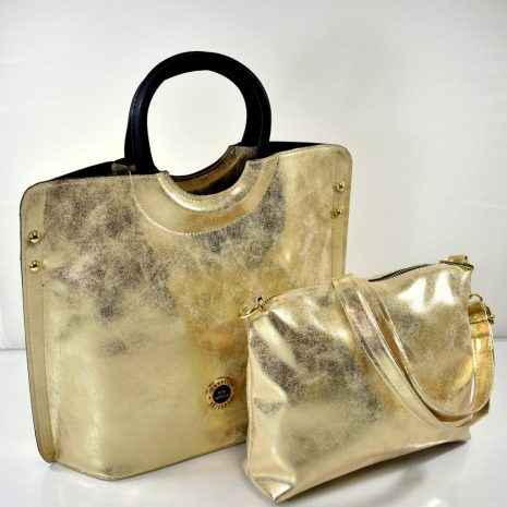 Elegantná dámska zlatá kabelka do ruky 2v1