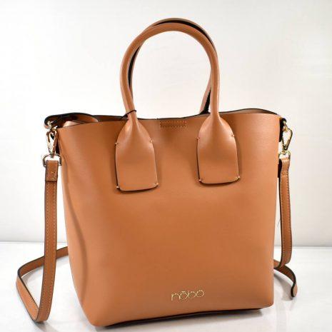 Dámska hnedá kabelka s kozmetickou taškou