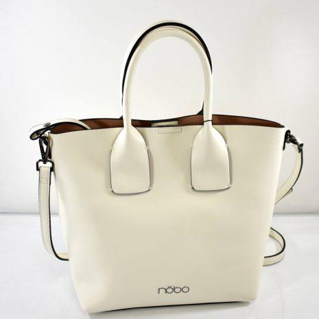 Dámska biela kabelka s kozmetickou taškou