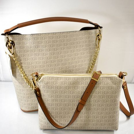 Dámska krémová kabelka 2v1 kožená BAGGER