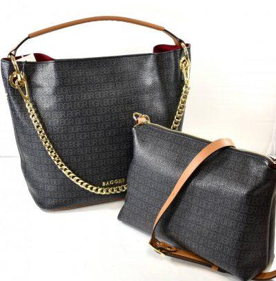 Veľká dámska kabelka s jedným uchom na rameno/do ruky na zips plus s crossbody menšou kabelkou