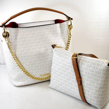 Dámska kožená biela kabelka dva v jednom BAGGER