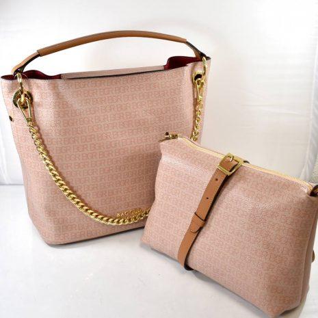 Dámska kožená pudrová kabelka dvojset