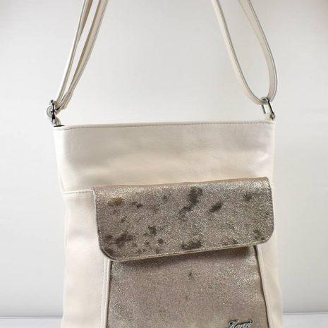 Crossbody dámska krémová kabelka