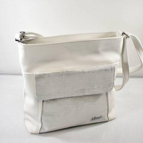 Crossbody dámska bielo strieborná kabelka