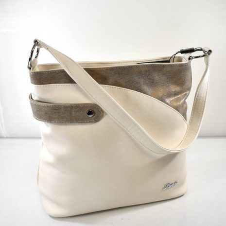 Veľká dámska crossbody krémová kabelka