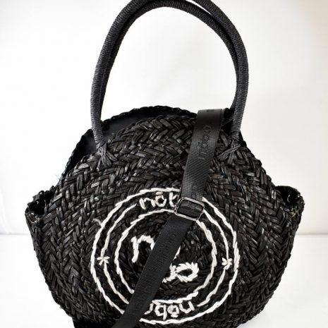 Letná slamená veľká kabelka/košík NOBO čiern