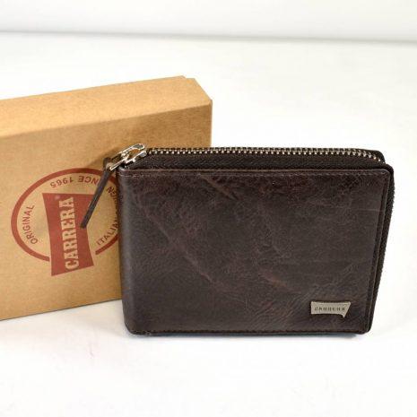 Pánska kožená hnedá peňaženka na zips
