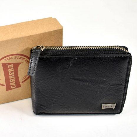 Pánska kožená čierna peňaženka na zips