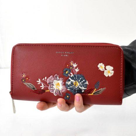 Dámska kvetinová bordová peňaženka