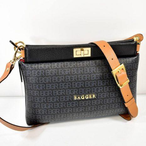 Crossbody dámska kožená čierna kabelka BAGGER