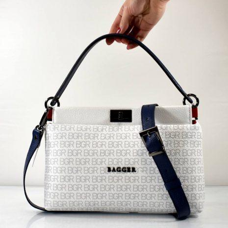 Listová crossbody dámska kožená biela kabelka BAGGER