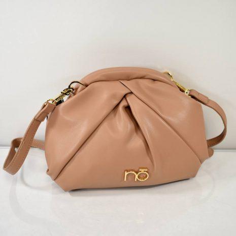 Elegantná dámska pudrovo hnedá kabelka