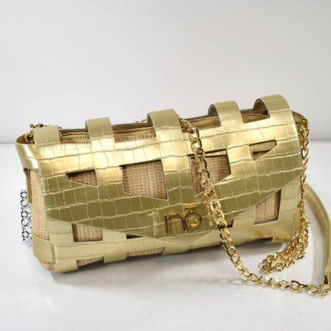 Dámska crossbody zlatá kabelka s retiazkou