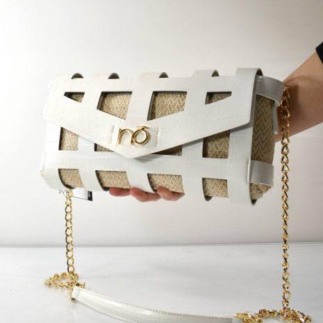 Dámska crossbody spoločenská biela kabelka