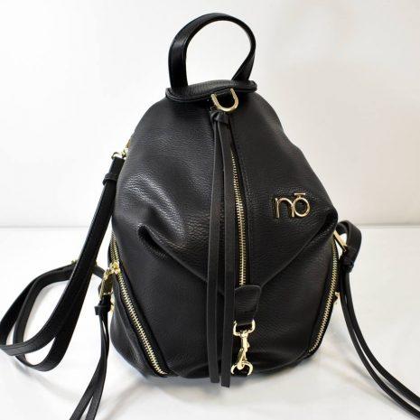 Štýlový, stredne veľký dámsky ruksak v čiernej farbe so zlatým kovaním