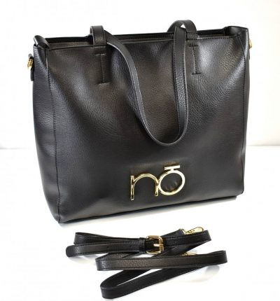 Športovo elegantná shopper kabelka v čiernej farbe so zlatým kovaním