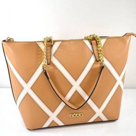 Elegantná dámska hnedá kabelka s retiazkami
