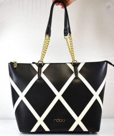 Veľká dámska kabelka v čierno bielej farebnej kombinácii s retiazkovými ušami na rameno