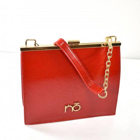 Lakovaná spoločenská červená kabelka