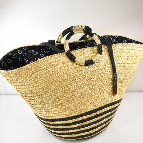 Štýlový letný košík s dvomi krátkymi ušami do ruky a dvomi dlhšími na rameno