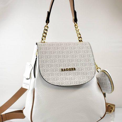 Elegantný dámsky biely kožený ruksak BAGGER