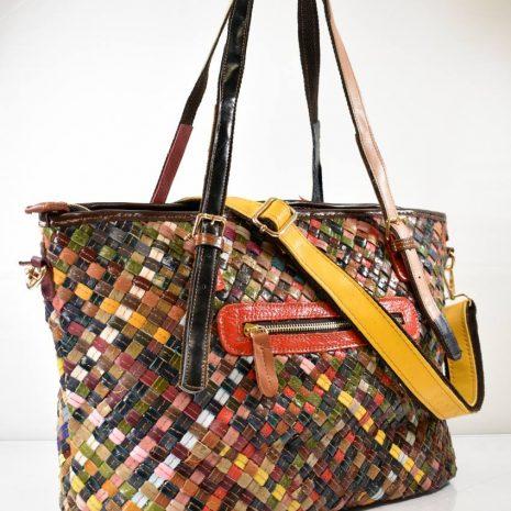Veľká dámska farebná kožená kabelka