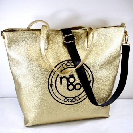 Veľká dámska zlatá shopper kabelka