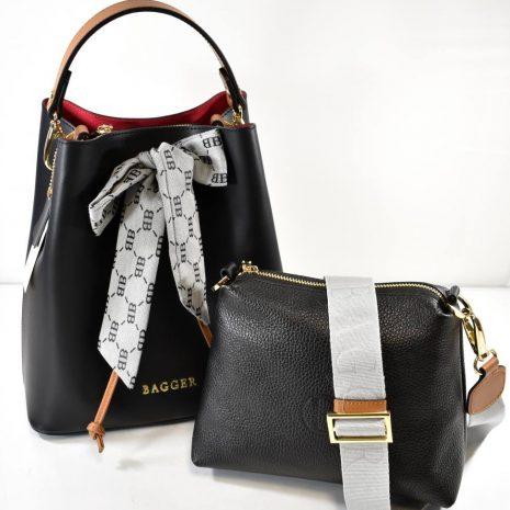 Dámska kožená čierna kabelka dva v jednom BAGGER