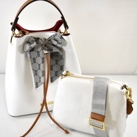 Dámska elegantná kožená biela kabelka BAGGER